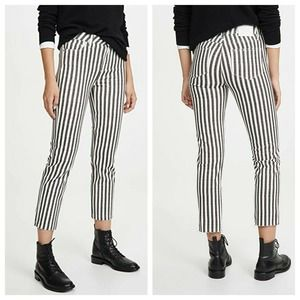 Paige Hoxton Straight Ankle Striped Raw Cuff Jeans